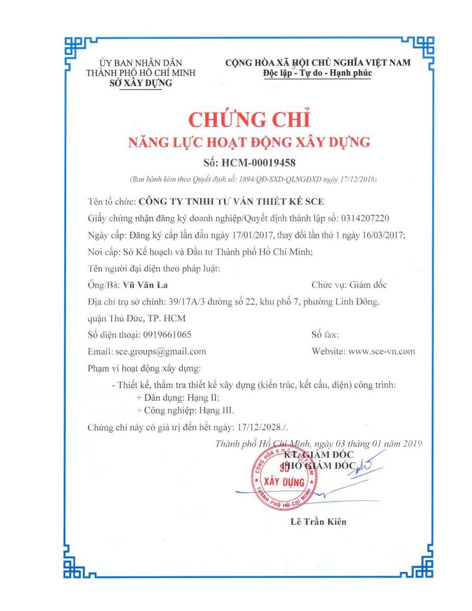 Capacity certificates